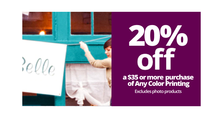 Get 20% off a $35 or more purchase of Any Color Printing - excludes photo products