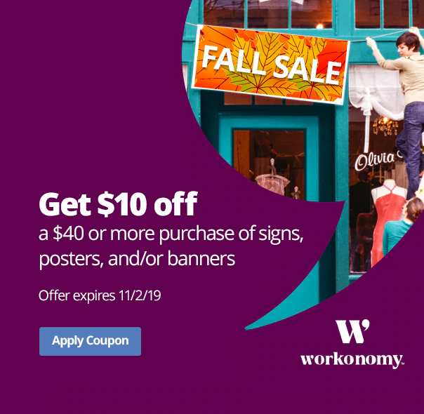 $10 off signs and banners