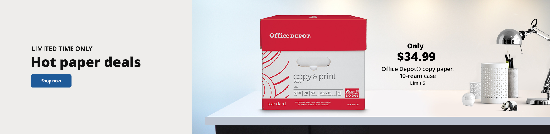 Only $34.99 Office Depot Brand Copy Paper - 10 Ream Case