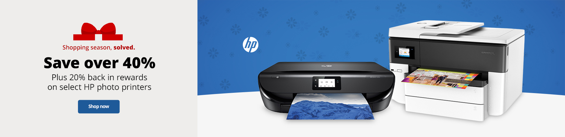Save over 40% Plus 20% back in rewards on select HP photo printers