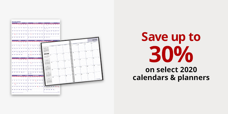 Save up to 30% on select 2020 calendars and planners