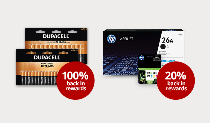 Bonus Rewards on select Duracell batteries, All ink, and All toner