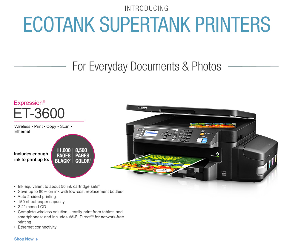 Office depot color printing costs - Epson Expression Et 3600 Printer