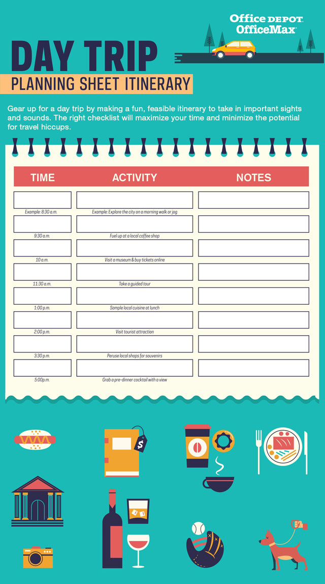 Day Trip Planning Sheet Itinerary Infographic