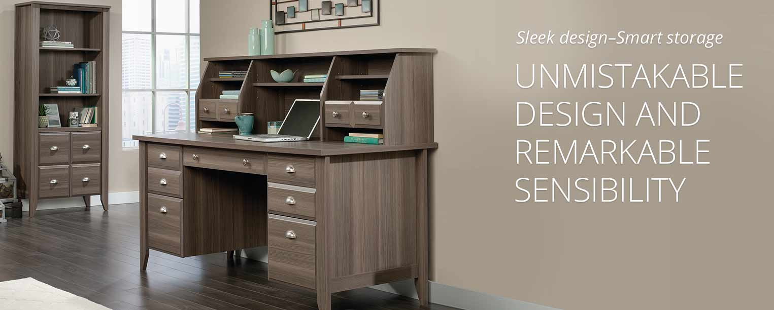 Sauder shoal creek executive desk in jamocha wood - Sauder Shoal Creek Collection